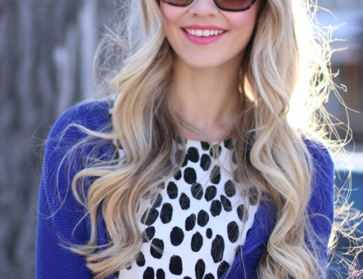 Sheinside-Blue-Cardigan-Black-and-White-Dots