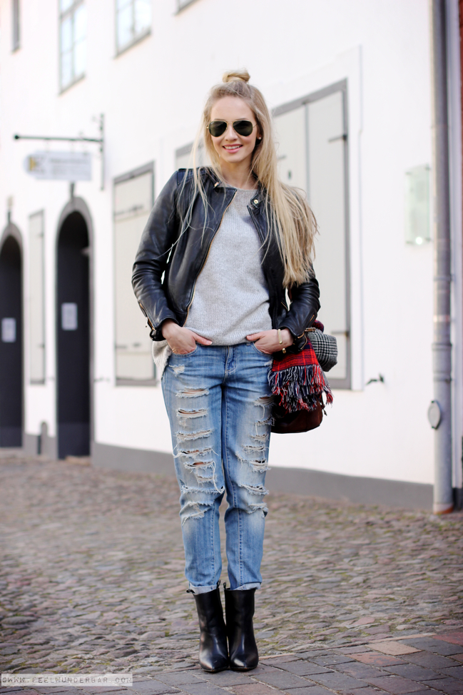 Style Leather Jacket Knit Jumper Distressed Jeans