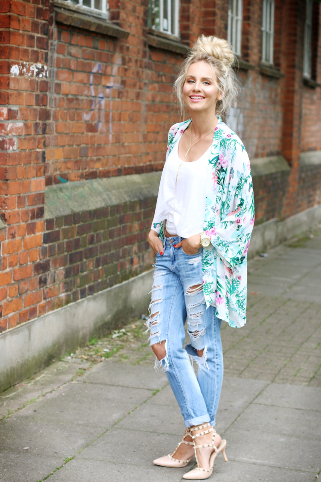 OUTFIT Tropical Kimono Ripped Jeans u0026 Top Knot   Feel ...