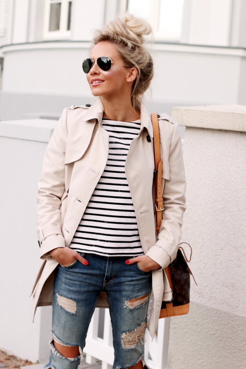 Outfit Casual Style Zara Trenchcoat Rayban Aviator Distressed Jeans Striped Shirt Joe Fresh 3