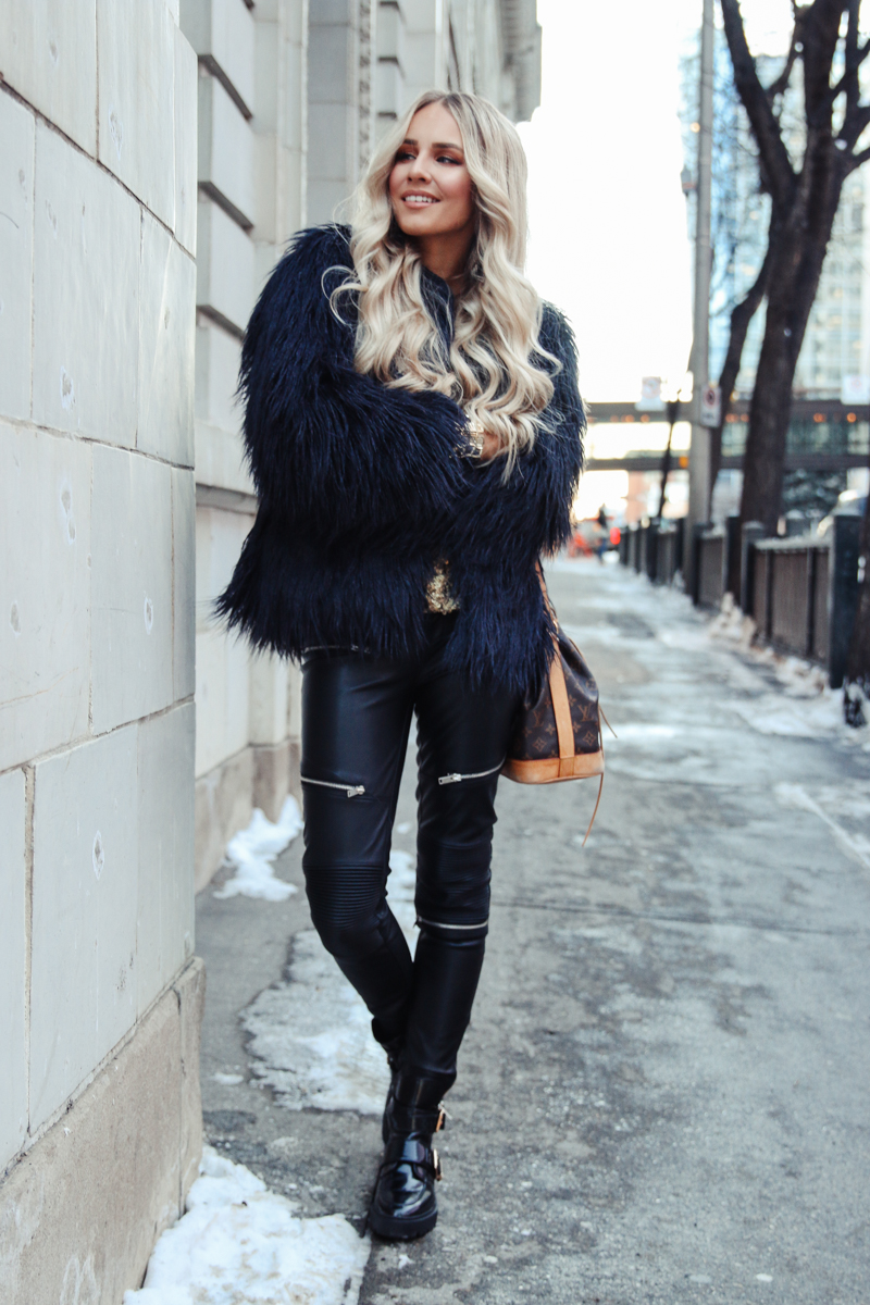 First Outfit Post In 2017 Blue Zara Faux Fur Jacket