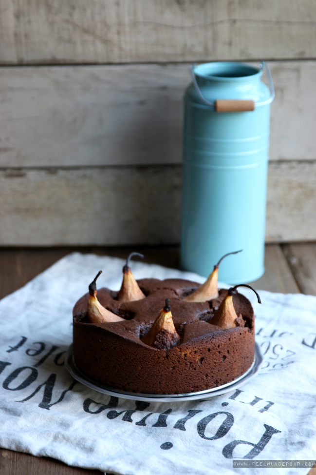 Lecker Birnen Schokoladen Kuchen Or Delicious Chocolate Pear Cake