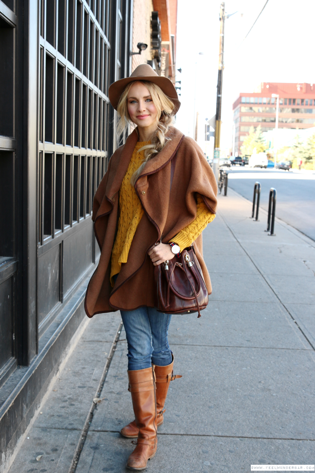 feelwunderbar-outfit-hm-cape-fedora-hat-mustard-yellow-knit-sweater -distressed-zara-jeans-hilfiger-boots-4 32a4b2cd9