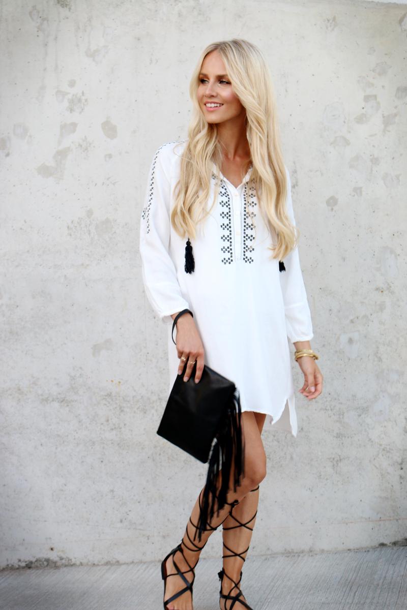 58d3a86023e Shein White embroidered dress black laceup sandals mango leather fringe  clutch riverisland 3