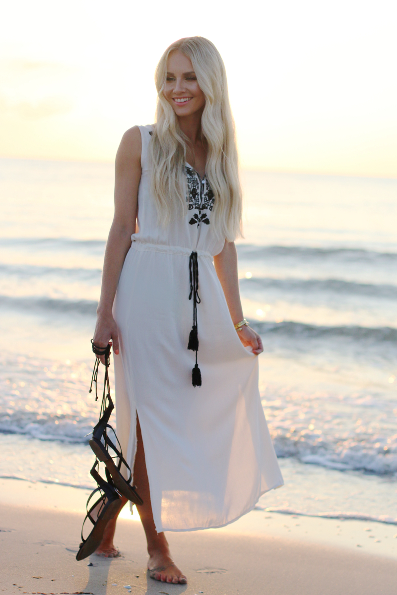 Long white embroidered Dress Zara Shein Summer Beach Outfit 2