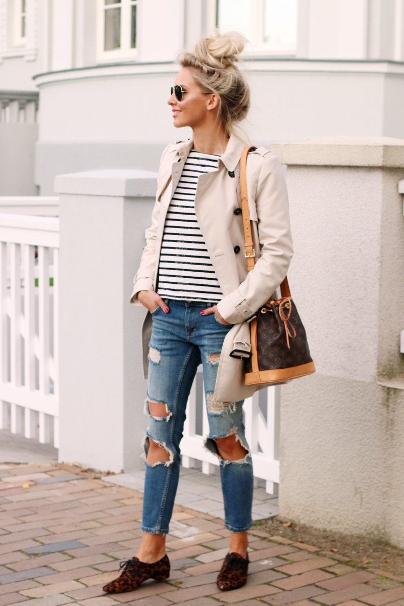 A Classic: Trench Coat, Striped Shirt & Ripped Denim ...