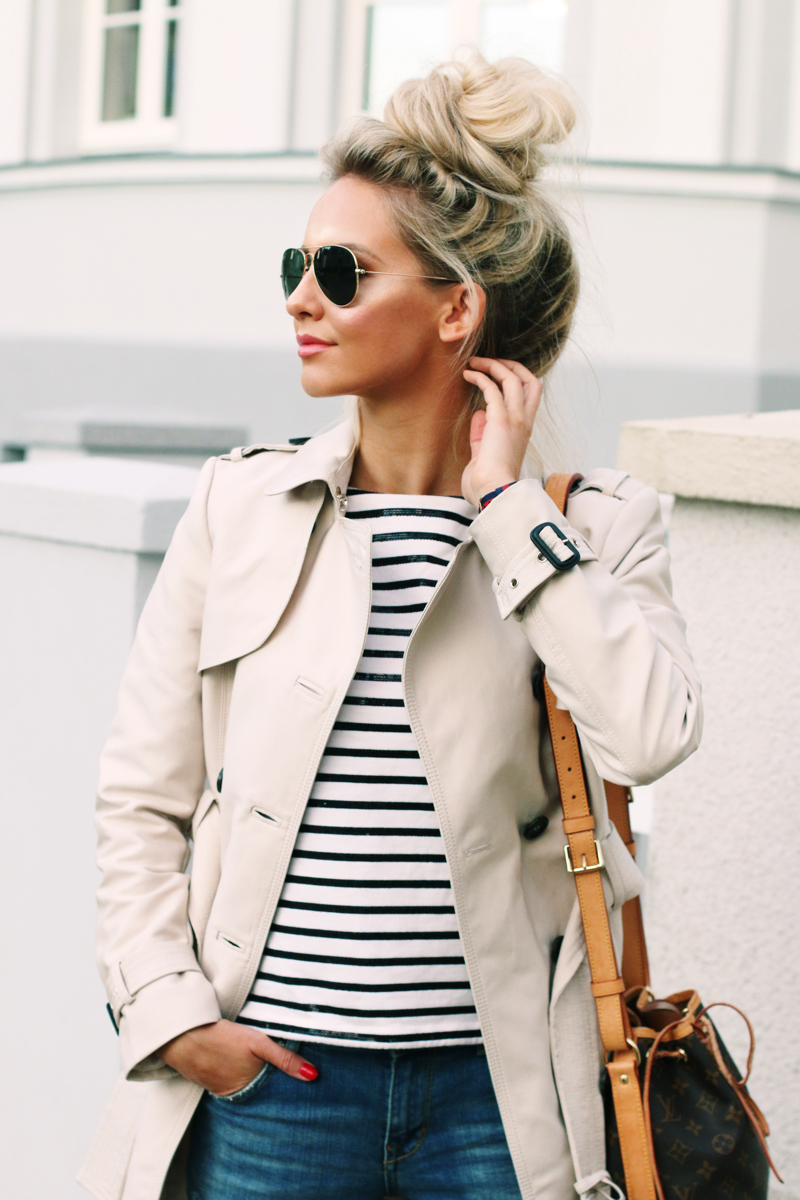 A Classic Trench Coat Striped Shirt Amp Ripped Denim