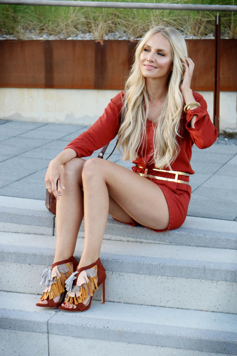 Outfit HM Rust Jumpsuit Zara Fringe Heels