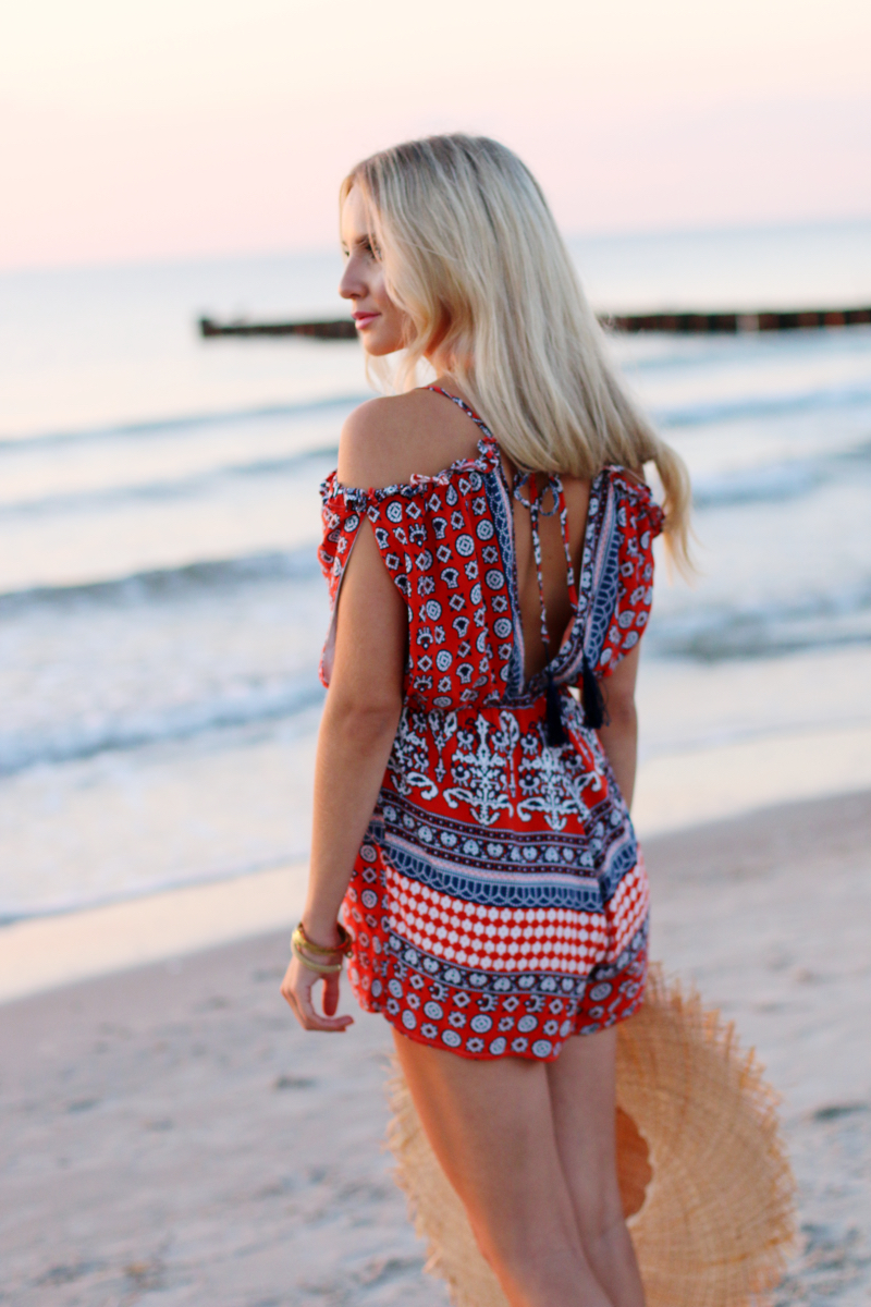 Summer Outfit 2015 Romper Playsuit Red Patterned 3