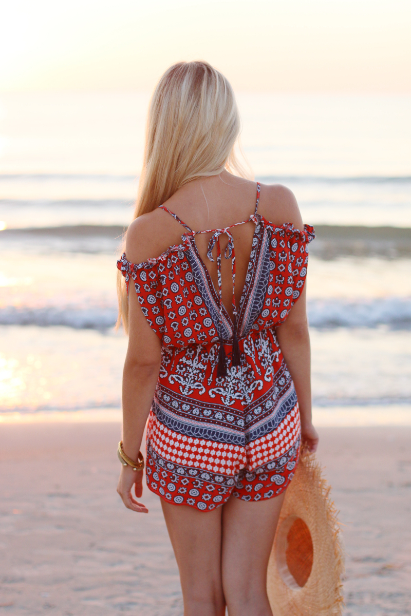 Summer Outfit 2015 Romper Playsuit Red Patterned 4