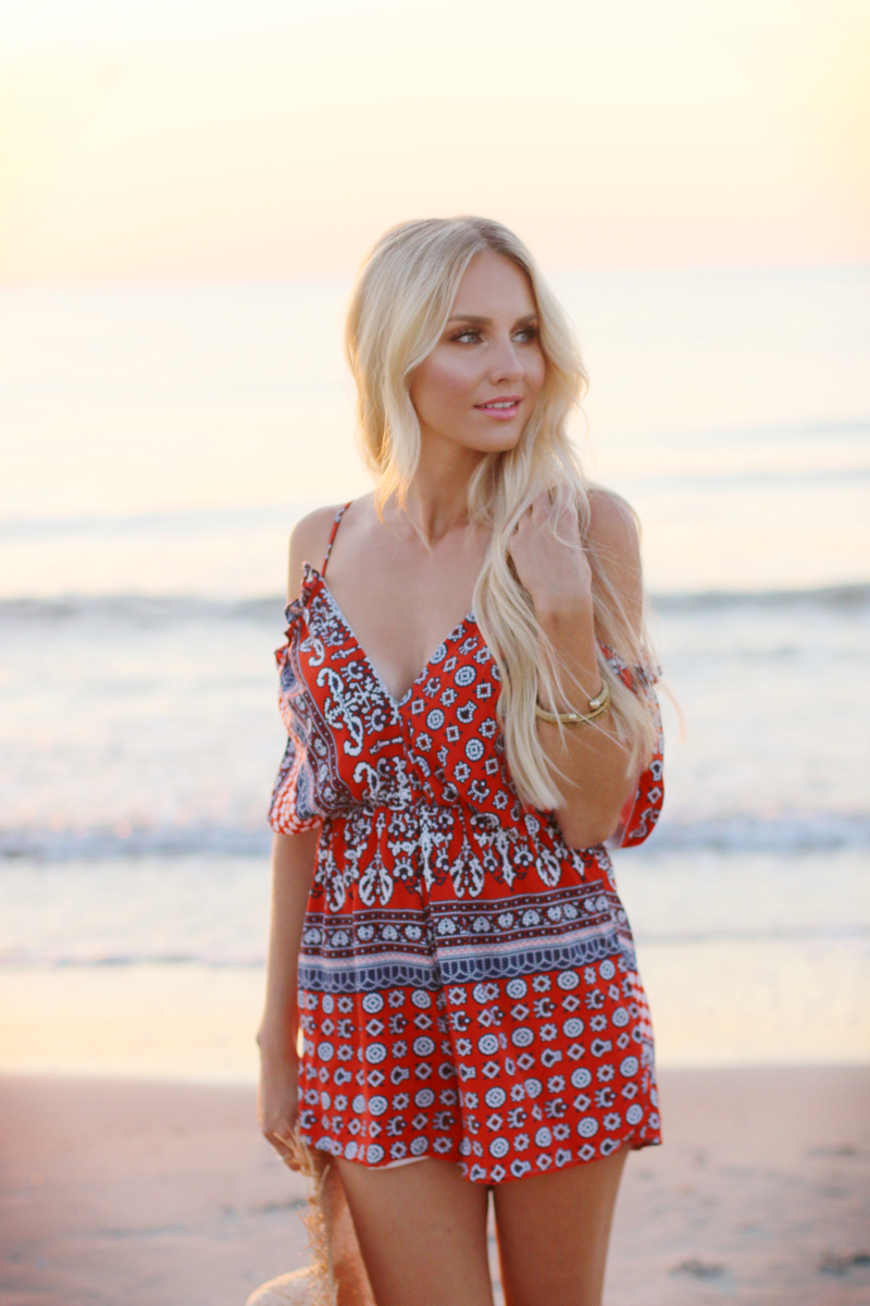 Summer Outfit 2015 Romper Playsuit Red Patterned 7