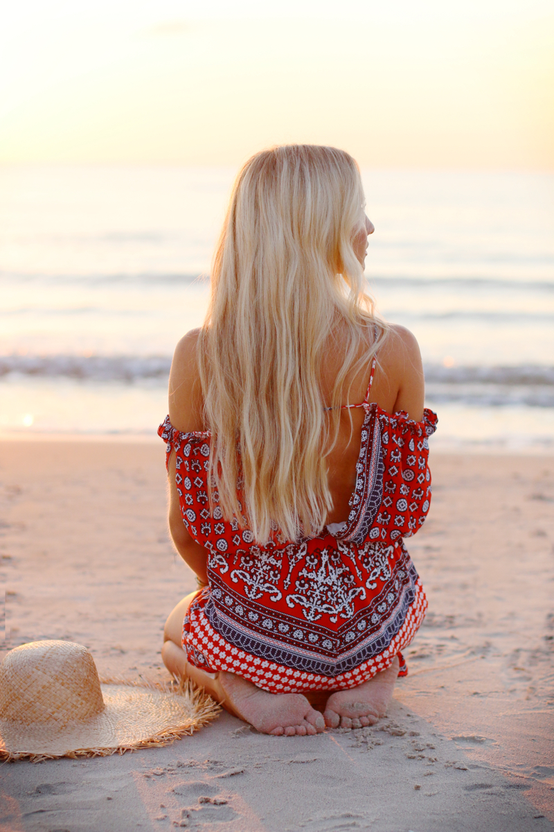 Summer Outfit 2015 Romper Playsuit Red Patterned