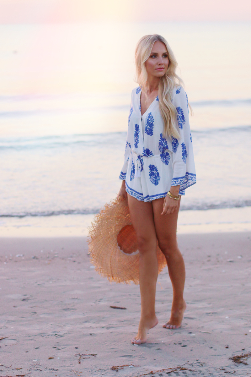 Summer Outfit Lookbook Store Playsuit Romper Blue White