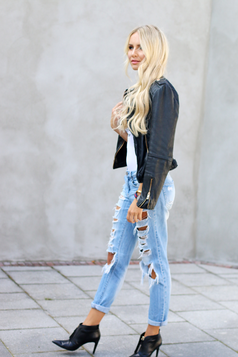 WRST Behavior Baby Body Zara Leather Jacket Ripped Ripped Boyfriend Jeans Zara Pinted Heels 2
