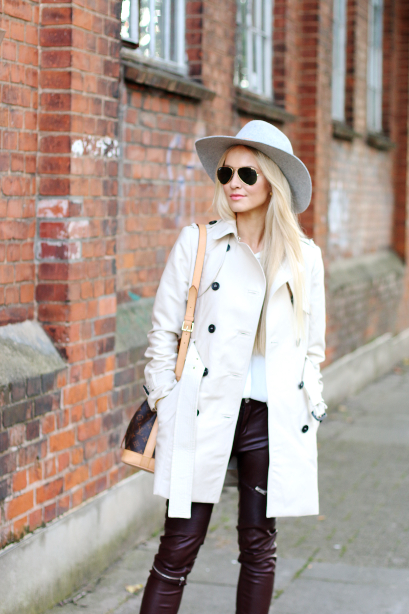 How to Style Leather Pants Zara Trench Coat Fedora Hat HM grey chelsea boots 7