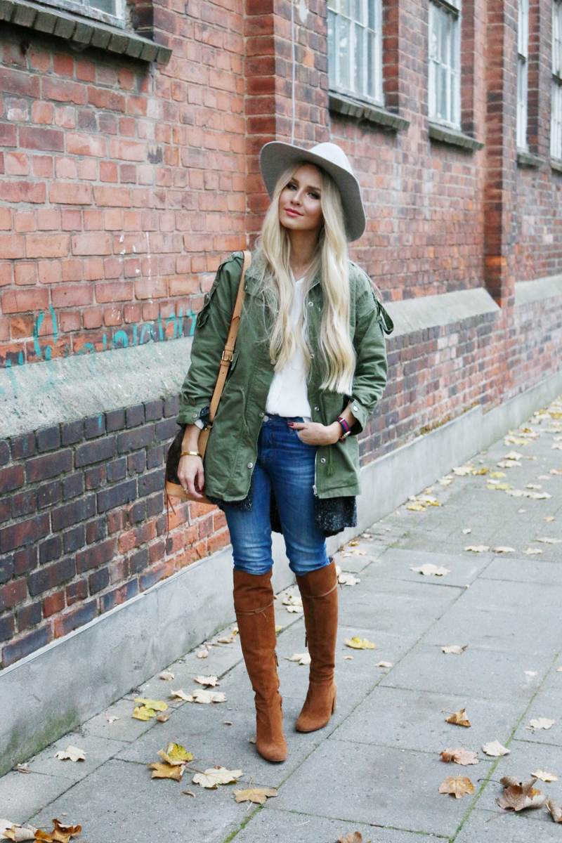Lookbookstore Green Jacket grey H&M Jacket Brown Suede knee high boots zara casual 2