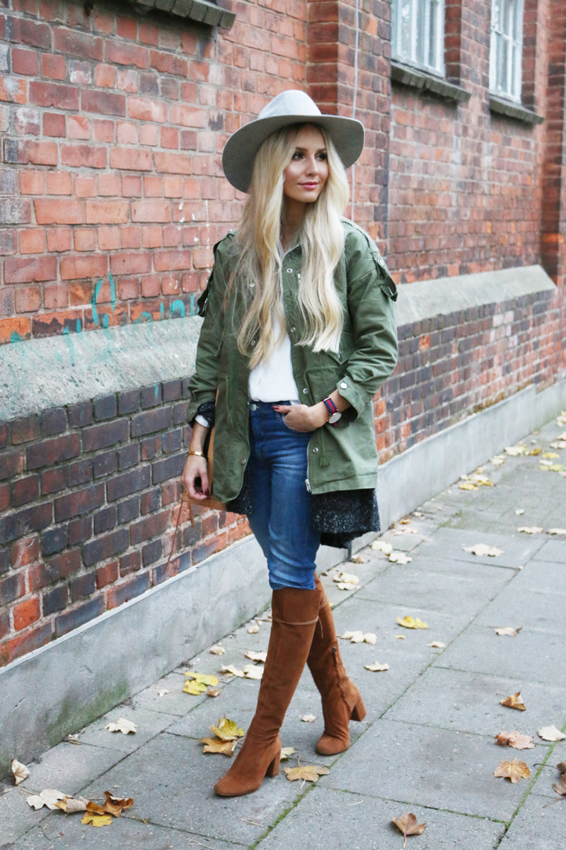 Lookbookstore Green Jacket grey H&M Jacket Brown Suede knee high boots zara casual 7