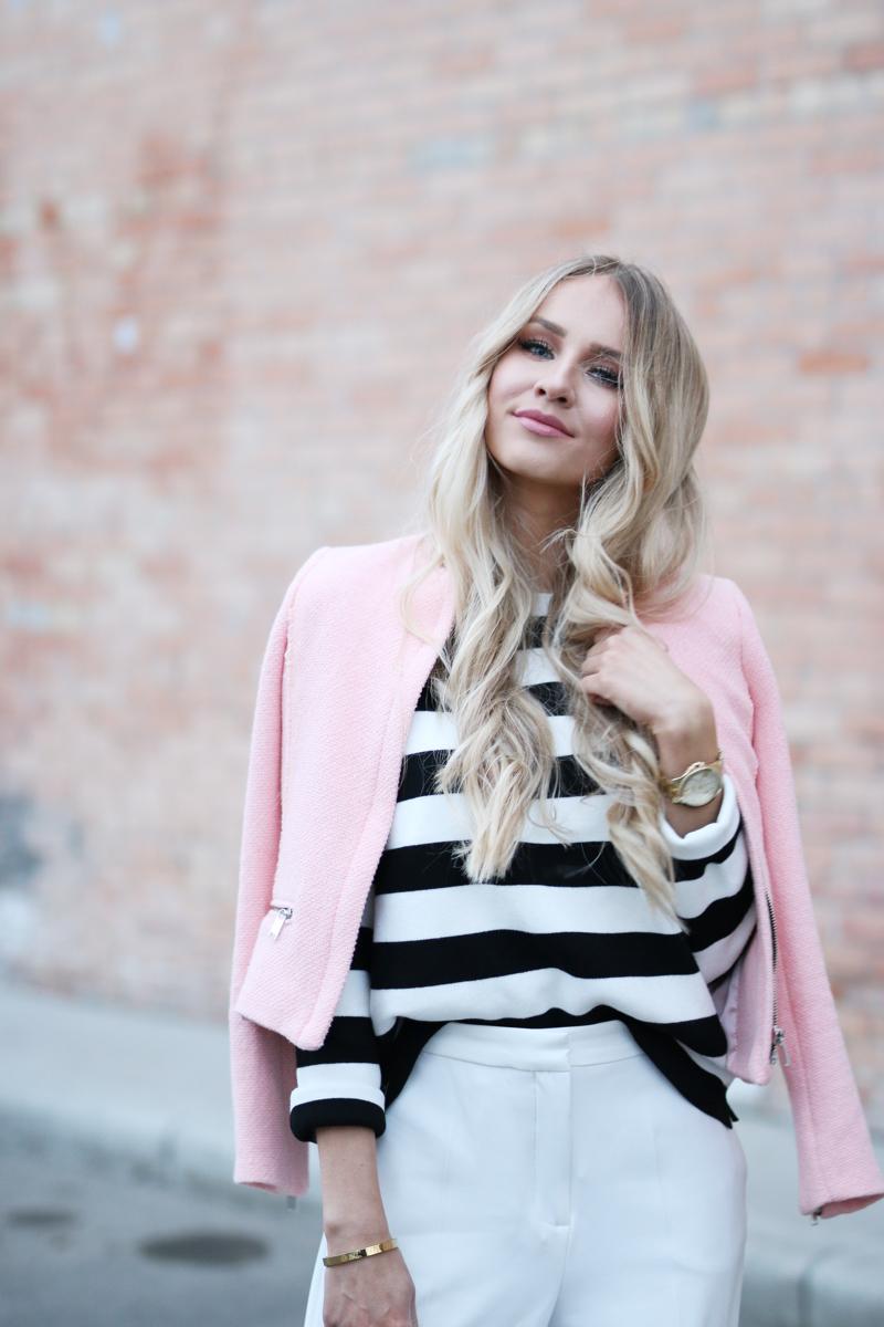 Outfit White Zara Culottes Blush Blazer Striped Shirt 3