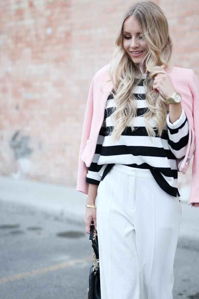 Outfit White Zara Culottes Blush Blazer Striped Shirt 4