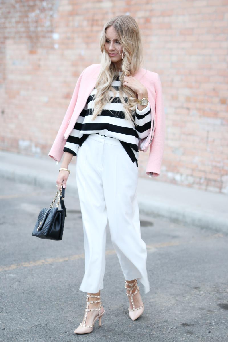 Outfit White Zara Culottes Blush Blazer Striped Shirt 5