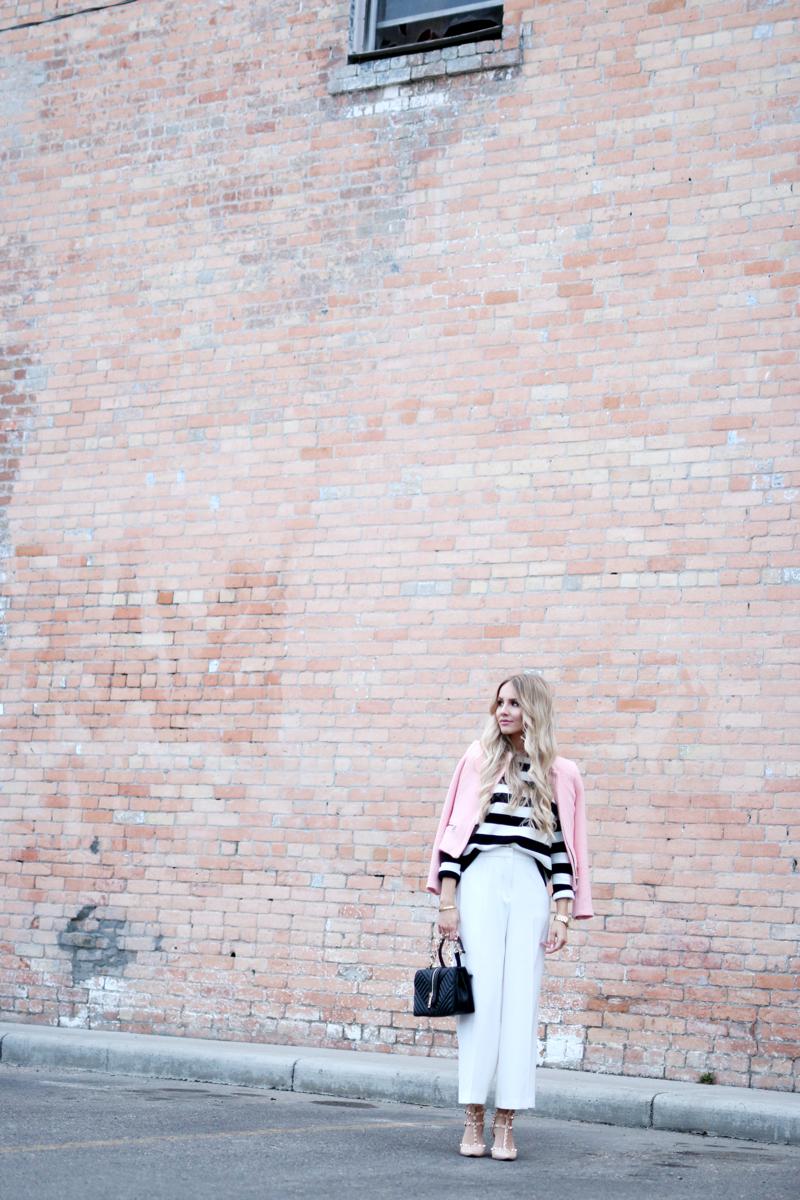 Outfit White Zara Culottes Blush Blazer Striped Shirt 6