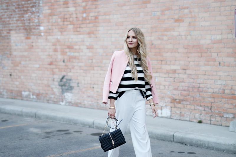 Outfit White Zara Culottes Blush Blazer Striped Shirt - small