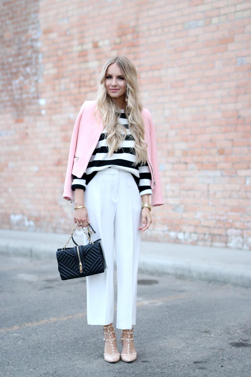 Pink Blazer White Culottes Stiped Sweater