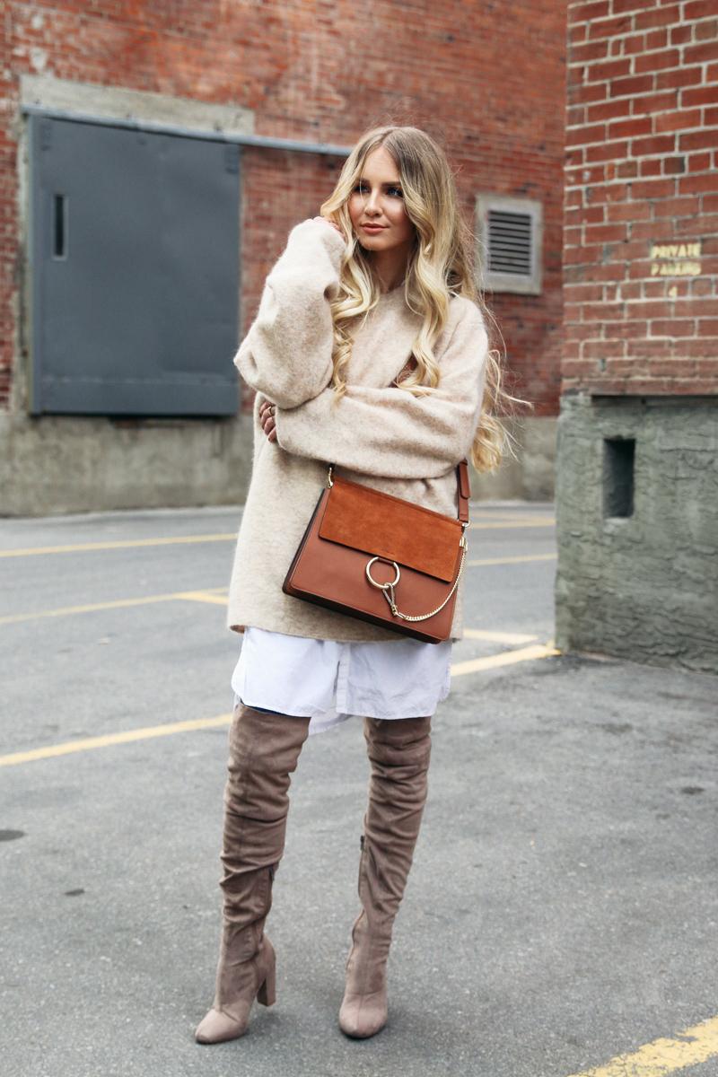 46b5a36ae0 H M Oversized Mohair Sweater Beige Asos Overknee Boots Chloe Bag Cognac-11