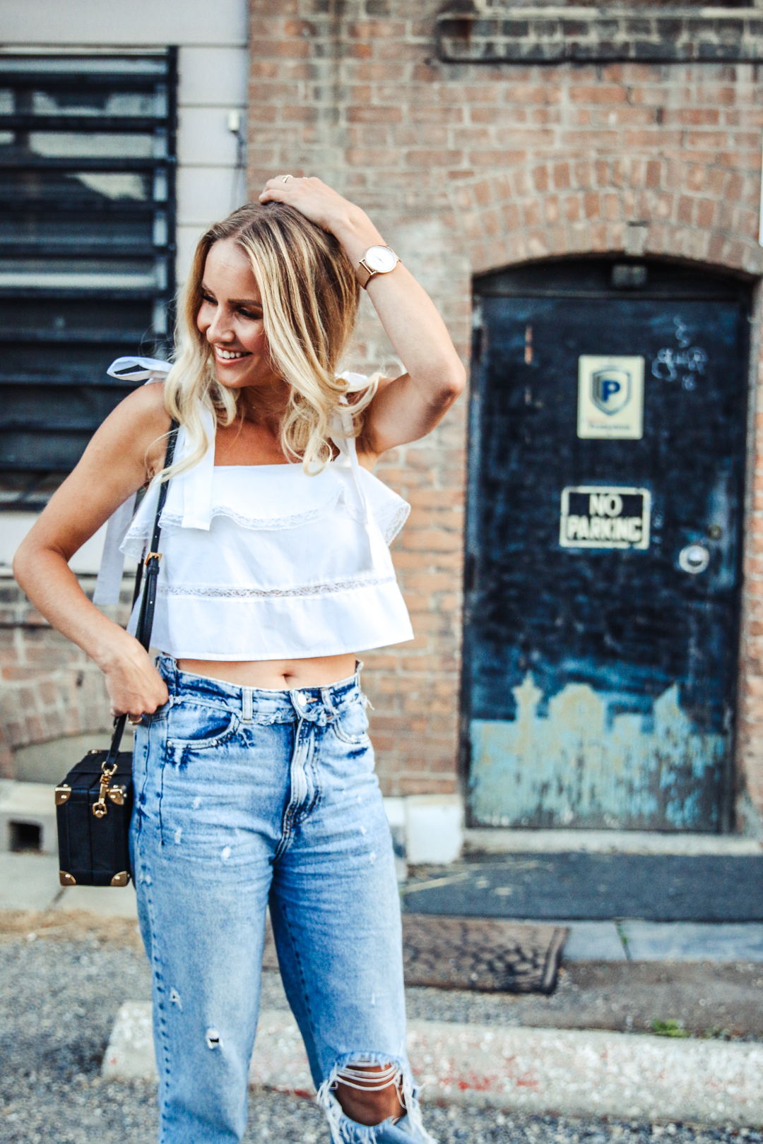 Summer Vibes Ruffle Tie Top Mom Jeans Amp Coffer Bag