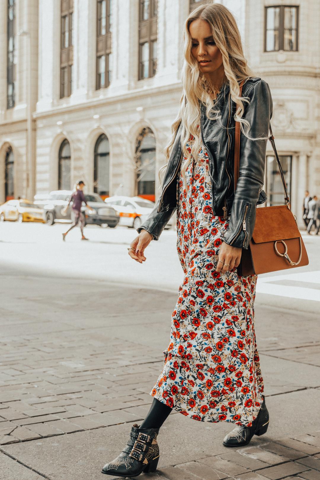 e8e90c7a17d Fall Autumn Outfit Floral Maxi Dress Leather Jacket CHloe Boots Chloe Bag-12