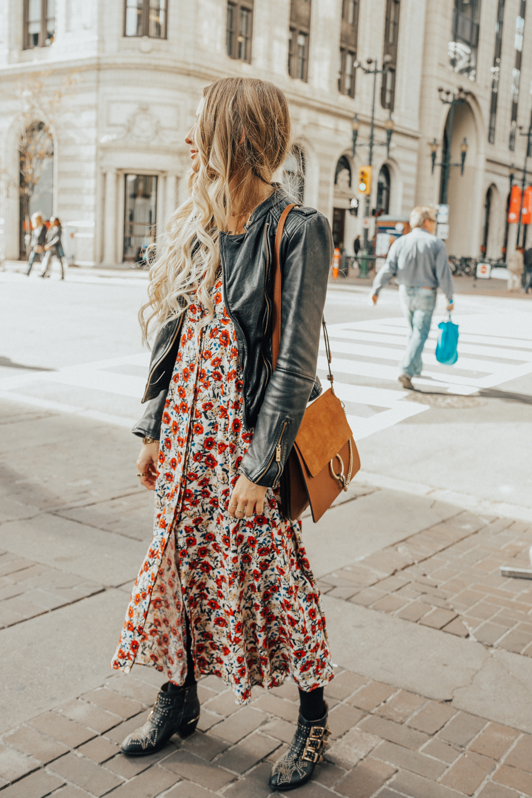 09eb3f688a7 Fall Autumn Outfit Floral Maxi Dress Leather Jacket CHloe Boots Chloe Bag-16