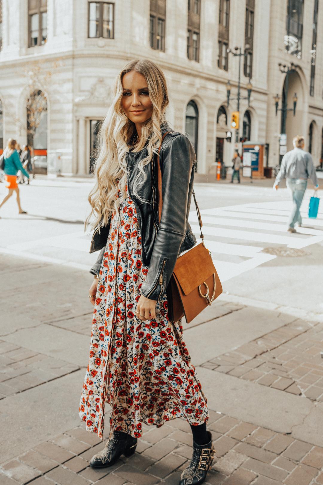c787de29b01 Fall Autumn Outfit Floral Maxi Dress Leather Jacket CHloe Boots Chloe Bag-17