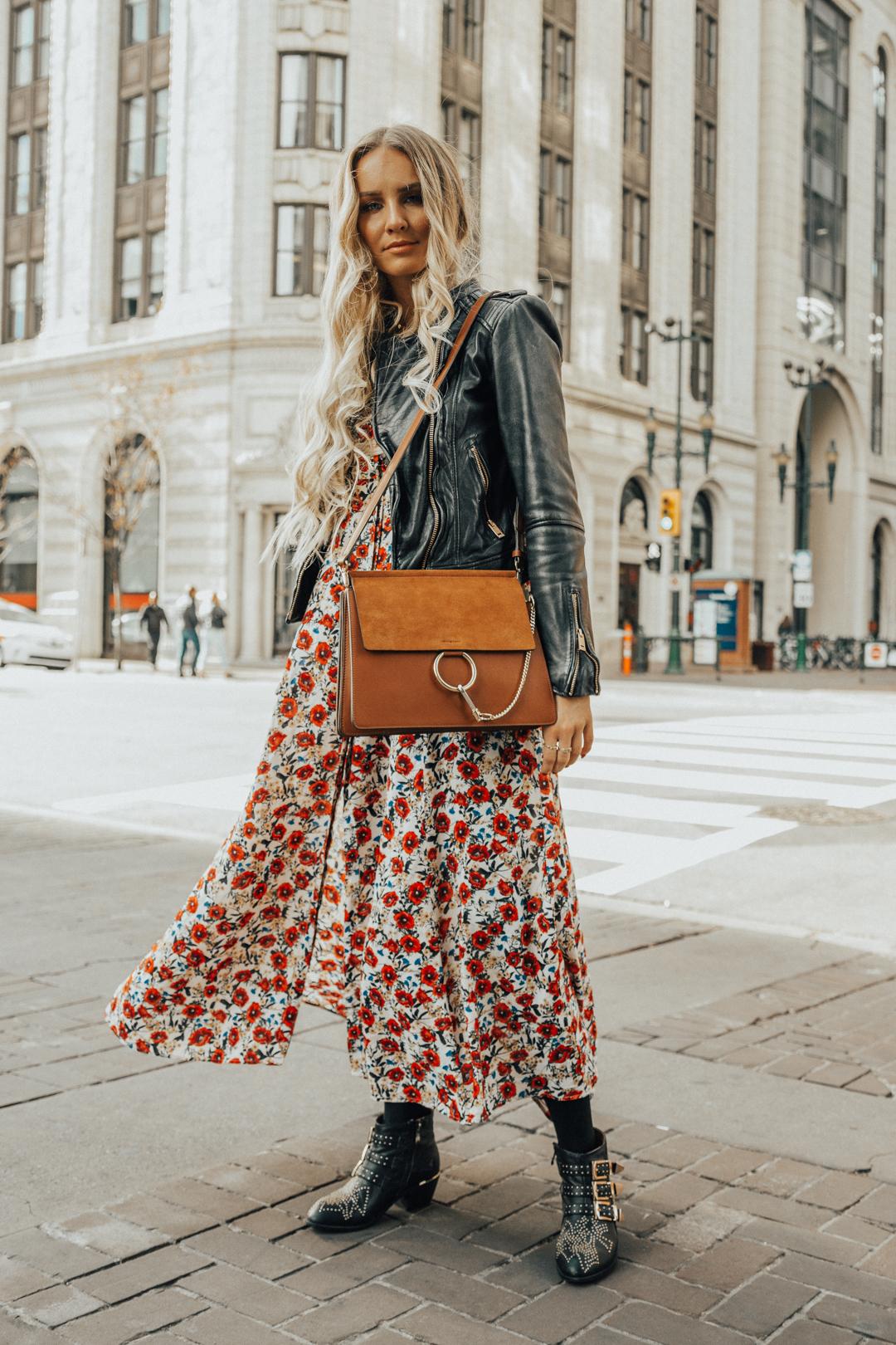 baac8a4a4d5 Fall Autumn Outfit Floral Maxi Dress Leather Jacket CHloe Boots Chloe Bag-18