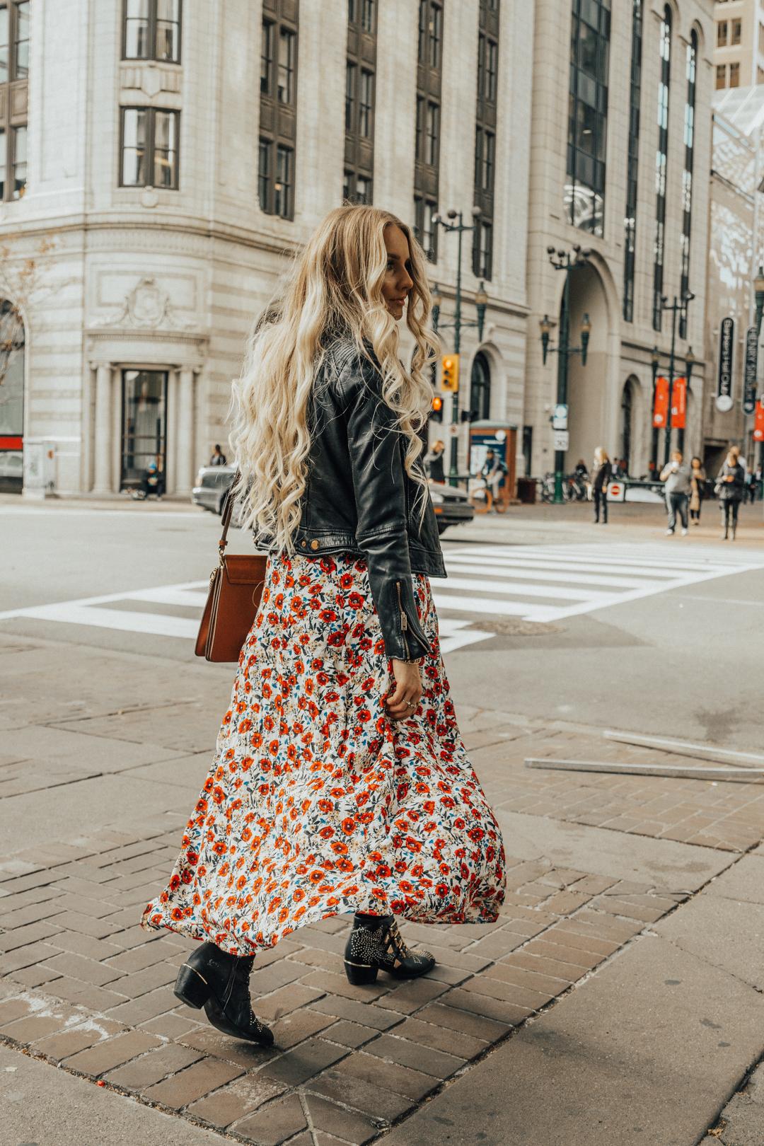 de41bd2e792 Fall Autumn Outfit Floral Maxi Dress Leather Jacket CHloe Boots Chloe Bag-4