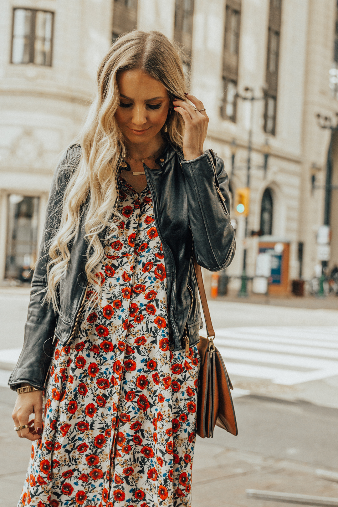 c8f418b1c25 Fall Autumn Outfit Floral Maxi Dress Leather Jacket CHloe Boots Chloe Bag-5