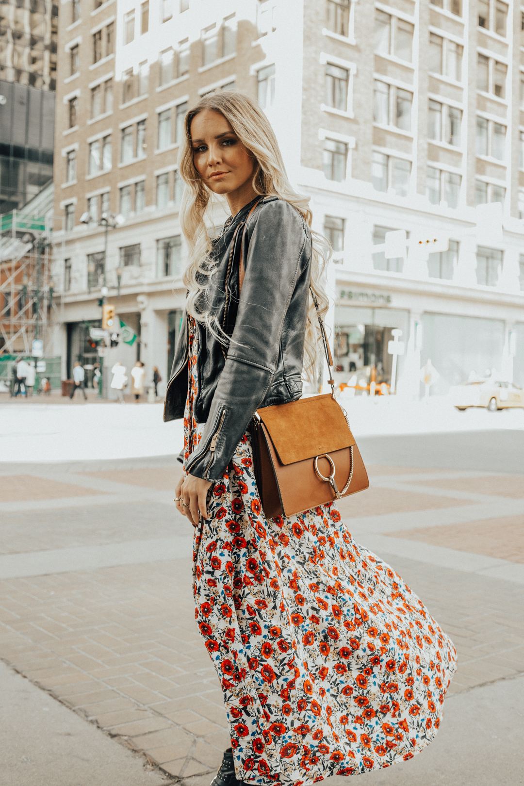 6940917a813 Fall Autumn Outfit Floral Maxi Dress Leather Jacket CHloe Boots Chloe Bag