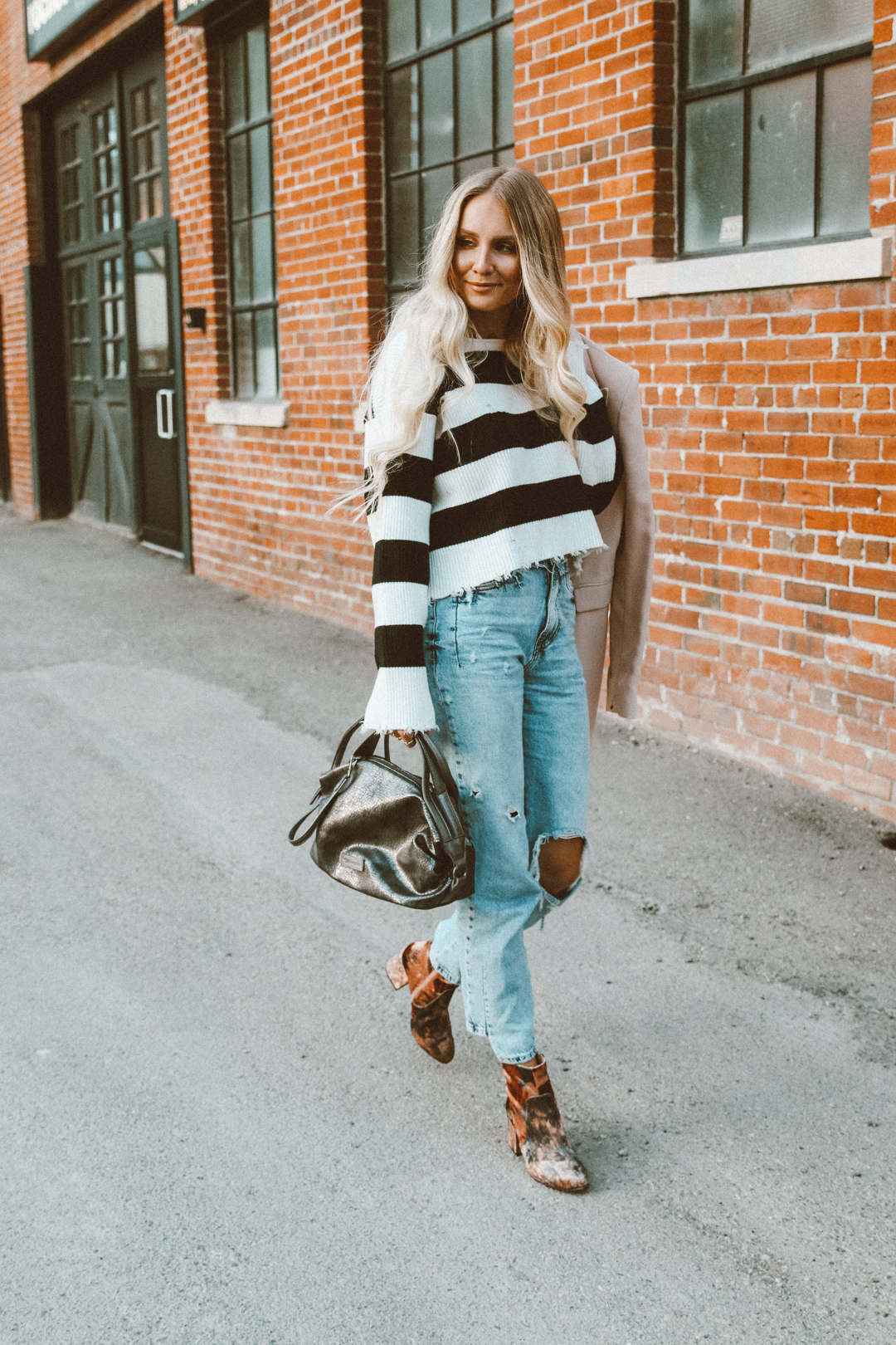 61c5f34ccd Yara Striped Sweater Outfit Zara Ripped Mom Jeans Casual Tamaris velvet  booties-6
